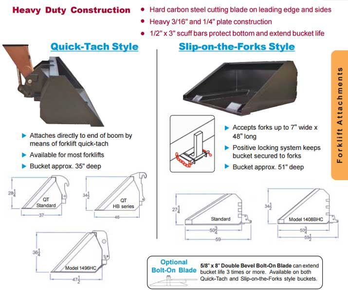 Heavy Duty Fork Truck Bucket-Attachments For Sale