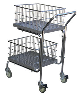 Double Tray/ Double Basket Mail Utility Cart