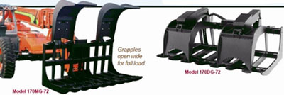 Quick-Tach Mega Grade Root Grapples for Extendable Reach Forklif