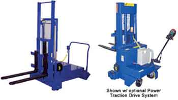 The Counter-Balanced Pallet Stacker functions just like its name suggests.  In addition to being able to move small loads from one place to another without the need of an oversized fork truck