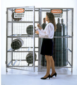 Vertical Galvanized Cylinder Storage Cabinets. Failure to properly store gas cylinders will result in severe safety hazards including, but not limited to, fire hazards, contamination of the workplace resulting in toxicity to personnel, asphyxiation, and even possible explosion.