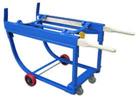 A rotating drum cart uses a simple but effective design to allow sealed oil drums to be picked up and then moved quickly and effectively. The elegant design is easy to use.
