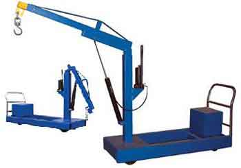With a floor crane, the key is to create a powerful yet easy to use system for lifting and moving heavy objects around.  Most use a design that incorporates a hydraulic system.