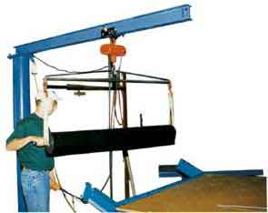 With a floor mounted jib crane, the key is to create a powerful yet easy to use system for lifting and moving heavy objects around.  Most use a design that incorporates a hydraulic system.