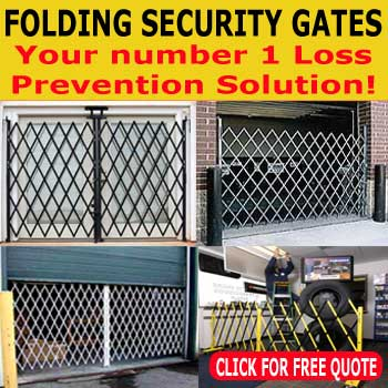 Galvanized Folding Security Gates - Commercial & Industrial Sales.