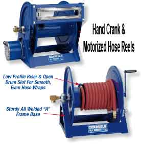 All water hose reels, air hose reels, and electric reels ship standard mount to floor or ceiling with an option to side mount.  They are made from solid steel and feature a proprietary CPC powder coat finish and can be used either indoors or outdoors regardless of weather conditions.