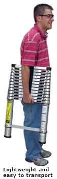 Man Holding telescopic ladder lightweight and easy to store