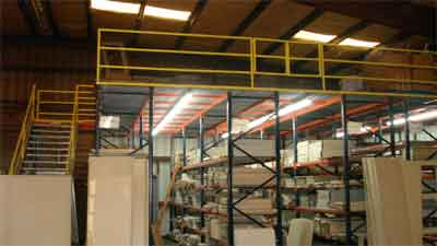 Mezzanine industrial steel shelving can triple your work and strorage space