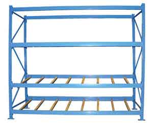Essentially, in a pallet flow rack system, pallets are loaded and unloaded the end of the racks rather than along the side.