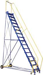 Commercial Steel Rolling Warehouse Ladder. Rolling Ladders.