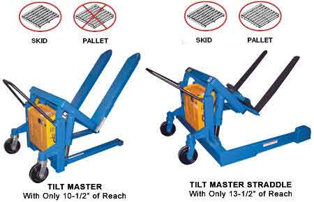 The manual tilt master works much like a pallet jack. It is ideal for lifting and tilting crates, boxes, and pallets with an open bottom.