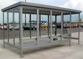 Passengers will typically make the most use of waiting shelters during inclement weather, so the most important element of the design is that it is large enough to provide cover to how ever many people are waiting for the bus at any one time.
